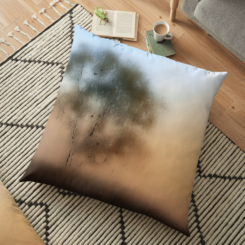 Meet Me At The Old Foggy Tree Floor Pillow