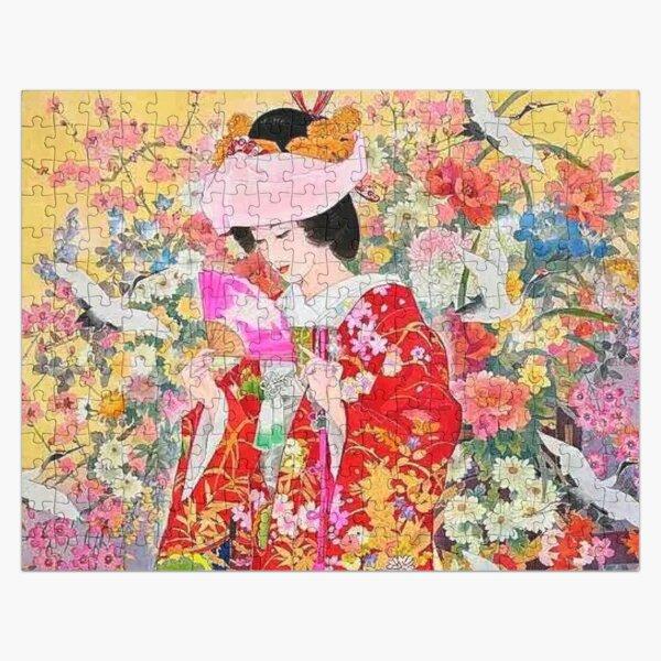 #Kimono, #flower, #geisha, #art, costume, dress, decoration, celebration, fashion, painting Jigsaw Puzzle