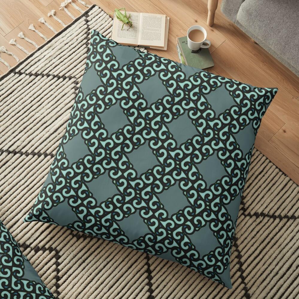 Modern Geometric Blue Green Pattern Design 614a Floor Pillow