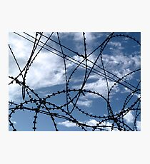 Barbed wire and Clouds Photographic Print