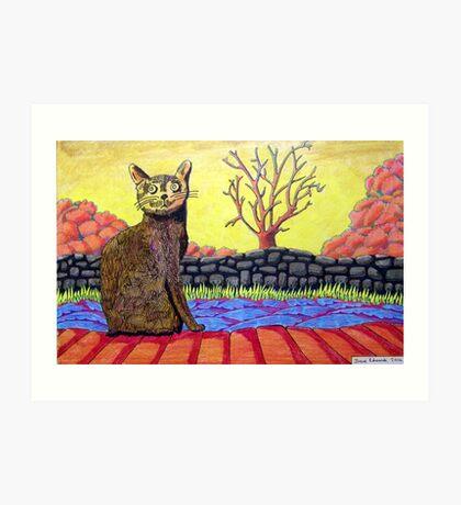 423 - YELLOW CAT - DAVE EDWARDS - COLOURED PENCILS - 2016 Art Print