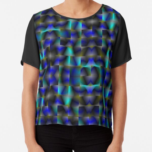 Disrupted Perspective Contemporary Camouflage Chiffon Top