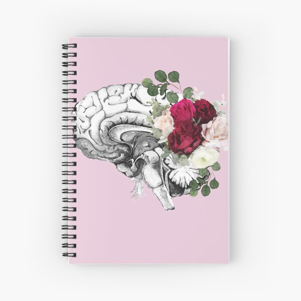 Roses floral Mental health brain with floral psychology Spiral Notebook