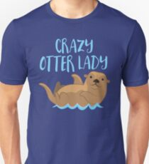 Crazy OTTER lady (new swimming) Unisex T-Shirt