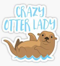 Crazy OTTER lady (new swimming) Sticker
