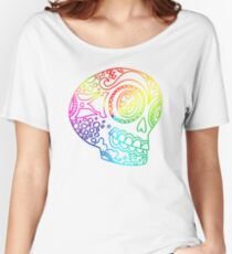 Rainbow Lines Sugar Skull in Love Women's Relaxed Fit T-Shirt
