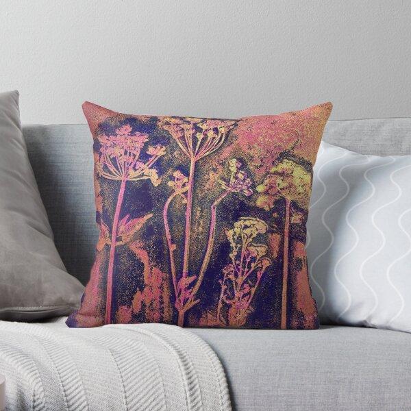 Cow Parsley Print, Botanical Art Throw Pillow