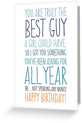 Funny Birthday Card For Boyfriend Or Husband