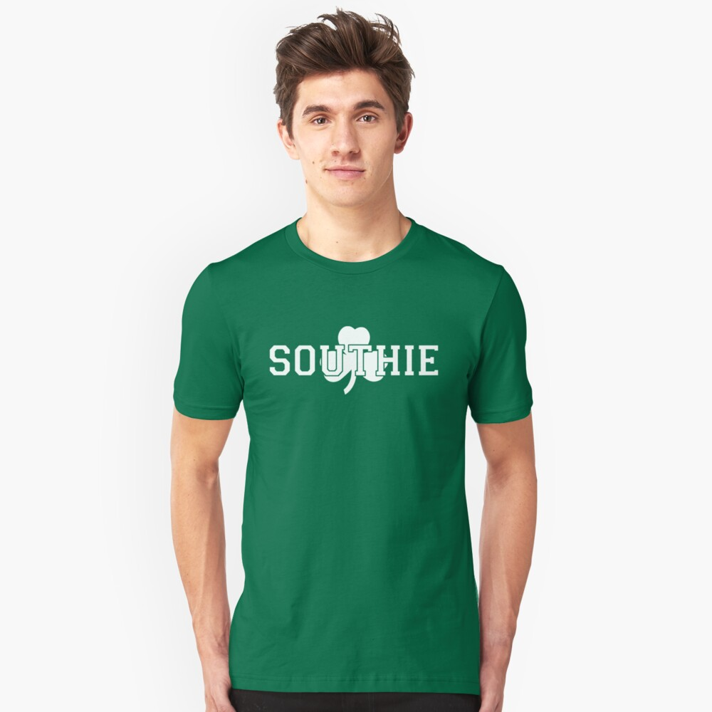 Southie (white on green) Unisex T-Shirt Front