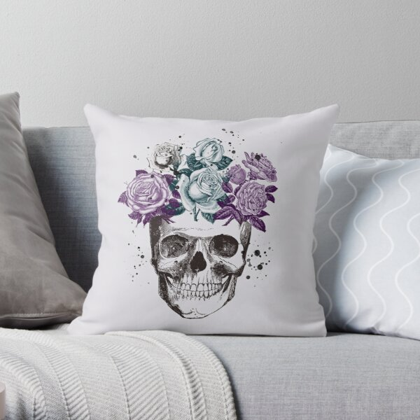 Skull & Roses • Victorian & Romantic Goth • Gothic Valentine Throw Pillow
