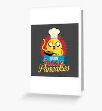 Jake The Dog Making Bacon Pancakes Greeting Card