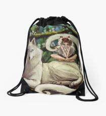 Wolf Princess in the Forest Drawstring Bag