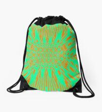 Orange on Green Wallpaper Drawstring Bag