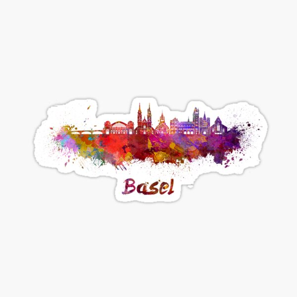 Basel-Skyline im Aquarell Sticker