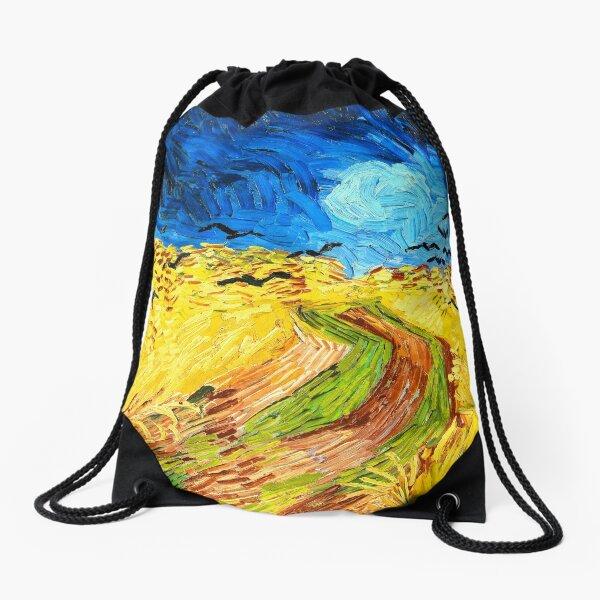 Van Gogh Wheatfield with Crows Fine Art Drawstring Bag