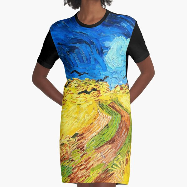 Van Gogh Wheatfield with Crows Fine Art Graphic T-Shirt Dress