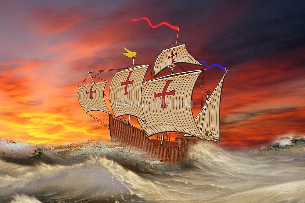 Santa Maria (Christopher Columbus) in a Stormy Sea & Red Sky by Dennis Melling
