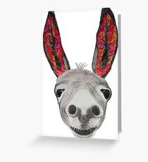 Funny donkey (red/orange) Greeting Card