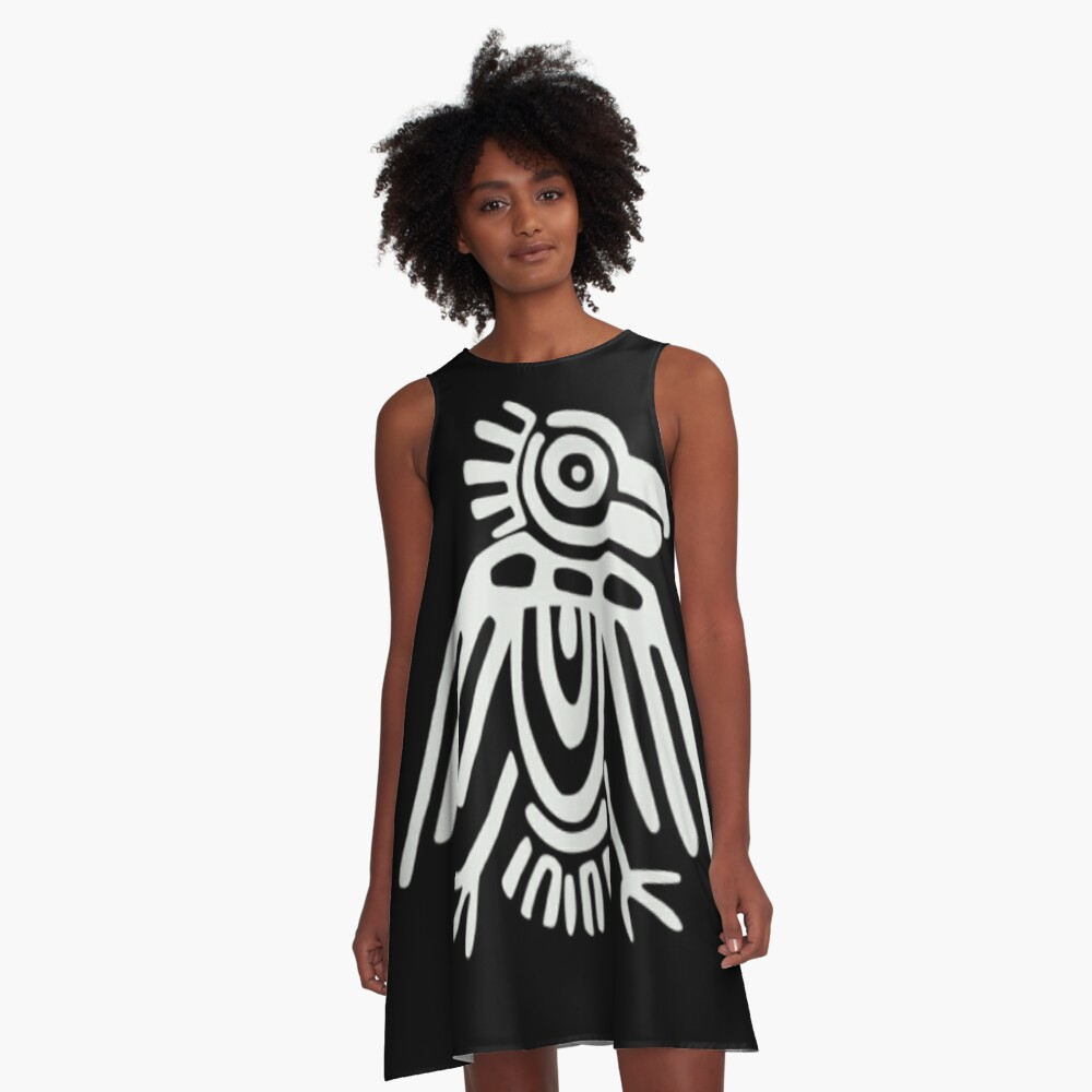 Mayan Icons: Aztec Drawing A-Line Dress