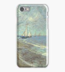 Vincent Van Gogh - Fishing Boats On The Beach At Les Saintes-Maries-De-La-Mer . Van Gogh - Seascape iPhone Case/Skin