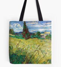1889-Vincent van Gogh-Green Field-73,5x92,5 Tote Bag