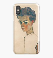 Egon Schiele - Self-Portrait with Striped Shirt 1910  Expressionism  Portrait iPhone Case/Skin