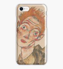 Egon Schiele - Self-Portrait with Striped Armlets 1915  Expressionism  Portrait iPhone Case/Skin