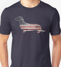 Patriotic Dachshund Dog, American Flag T-Shirt