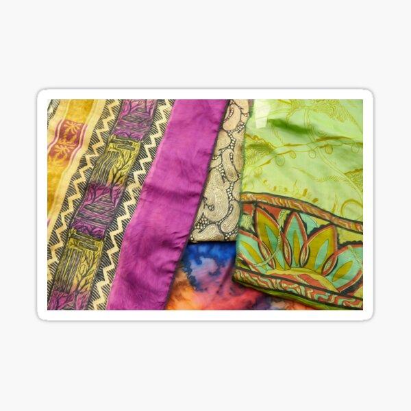 Sari Fabric Background Silk Indian Textile  Sticker