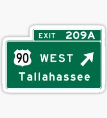 Tallahassee, FL Road Sign, USA Sticker