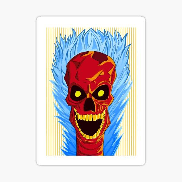 Red Skull Blue Fire Sticker