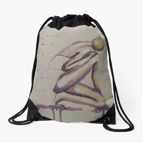 Dancer minimalist watercolor portrait Drawstring Bag