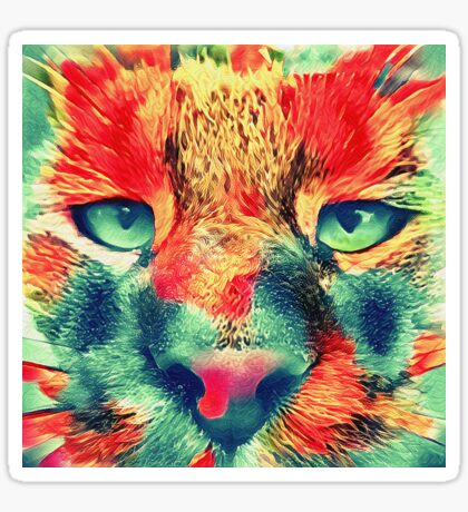 Artificial neural style wild cat Sticker