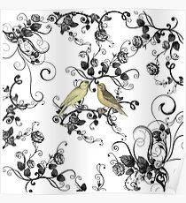 Chic vintage yellow birds black white roses Poster
