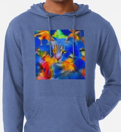 Artificial neural style flower wild cat Lightweight Hoodie