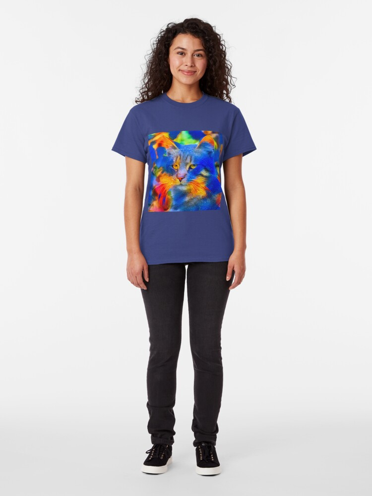 Alternate view of Artificial neural style flower wild cat Classic T-Shirt