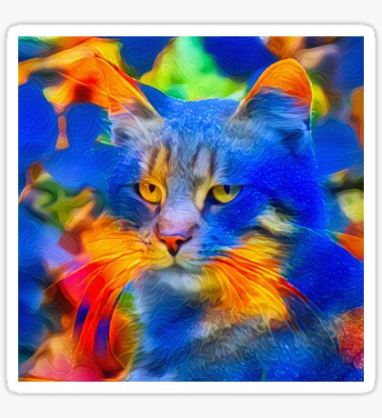 Artificial neural style flower wild cat Sticker