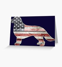 Patriotic Golden Retriever, American Flag Greeting Card