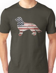 Patriotic Golden Retriever, American Flag Unisex T-Shirt