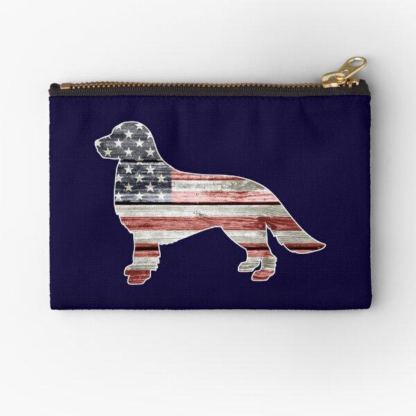 Patriotic Golden Retriever, American Flag Zipper Pouch