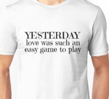 The Beatles Yesterday Rock Music Lyrics  Unisex T-Shirt