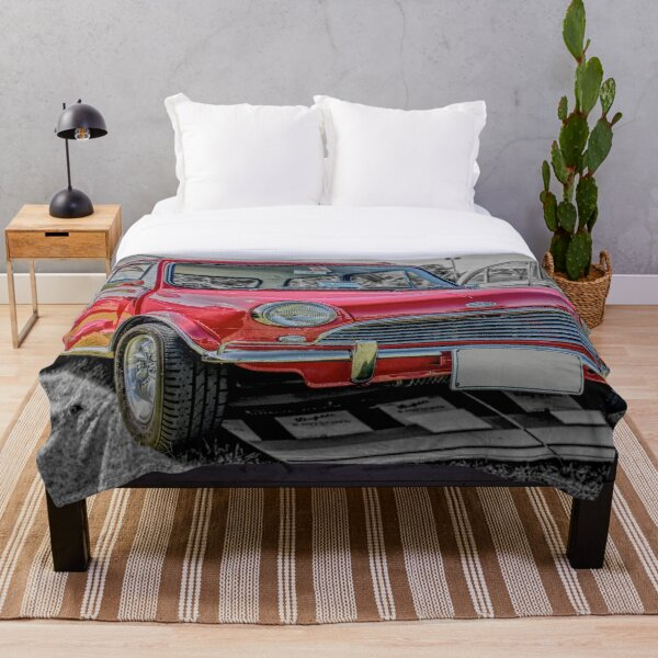 Red Morris Mini Cooper S Throw Blanket
