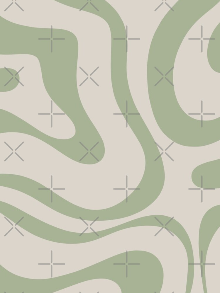 Liquid Swirl Abstract Pattern in Beige and Sage Green by kierkegaard