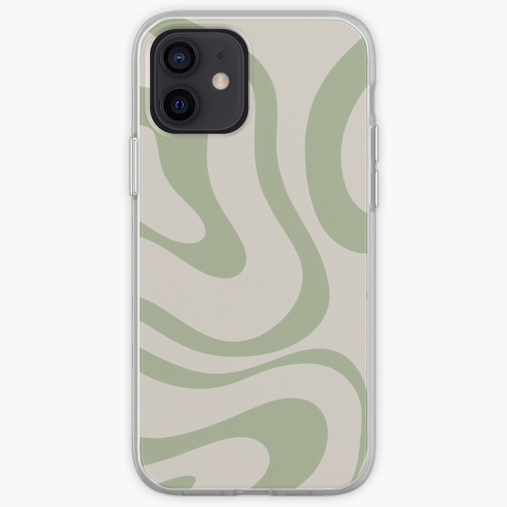Liquid Swirl Abstract Pattern in Beige and Sage Green iPhone Case & Cover