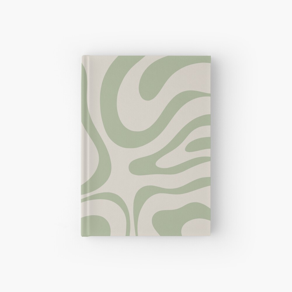 Liquid Swirl Abstract Pattern in Beige and Sage Green Hardcover Journal