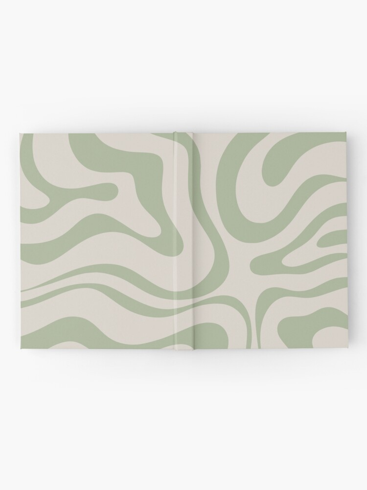 Alternate view of Liquid Swirl Abstract Pattern in Beige and Sage Green Hardcover Journal