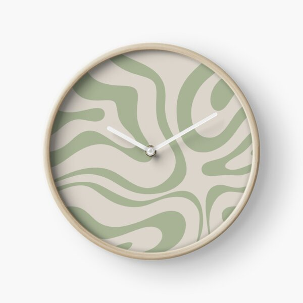 Liquid Swirl Abstract Pattern in Beige and Sage Green Clock