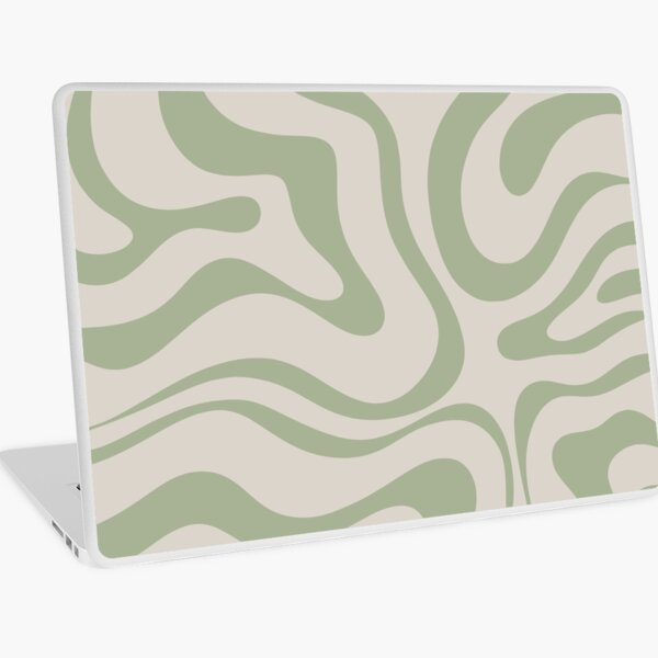 Liquid Swirl Abstract Pattern in Beige and Sage Green Laptop Skin