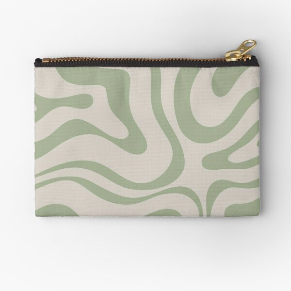 Liquid Swirl Abstract Pattern in Beige and Sage Green Zipper Pouch