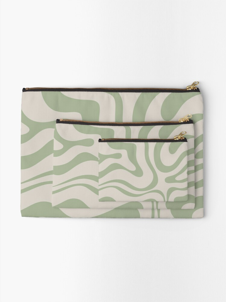 Alternate view of Liquid Swirl Abstract Pattern in Beige and Sage Green Zipper Pouch
